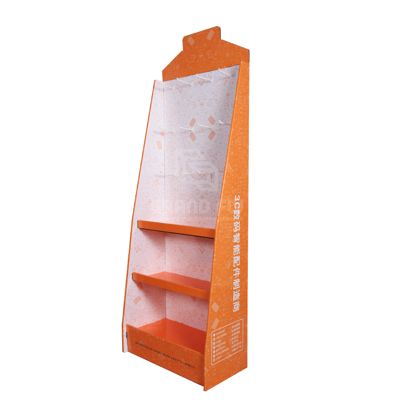 Cardboard Display Stand with Hook & Tier for Digital Accessories-3