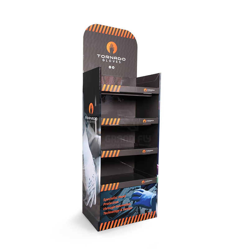 Cardboard Floor Display Stand with Four Tier for Gloves-1