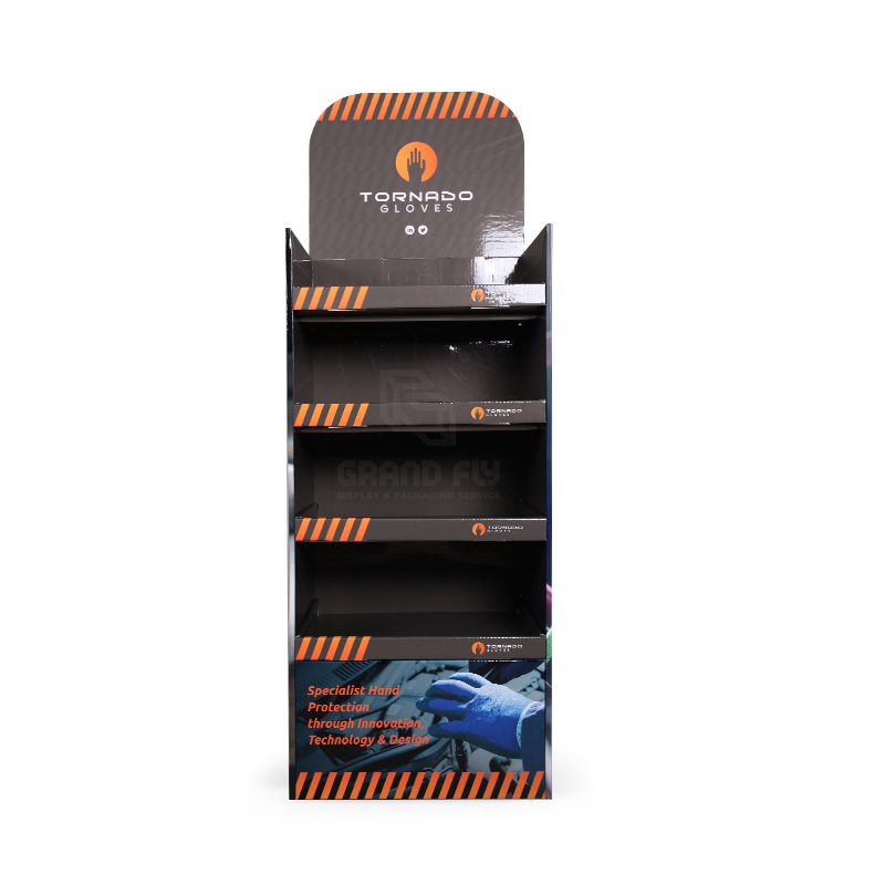 Cardboard Floor Display Stand with Four Tier for Gloves-2