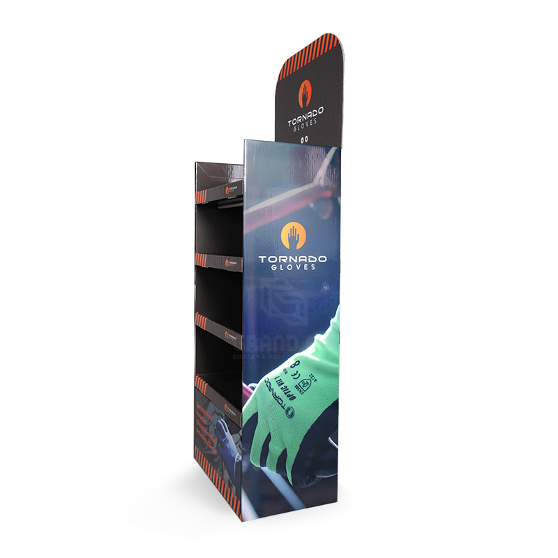 Cardboard Floor Display Stand with Four Tier for Gloves-3