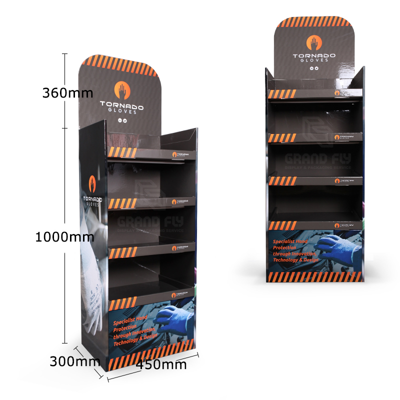 Cardboard Floor Display Stand with Four Tier for Gloves-4