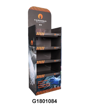 Cardboard Floor Display Stand with Four Tier for Gloves