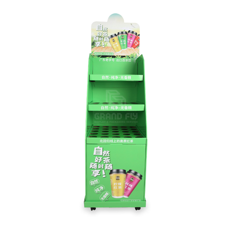Removeable Carton Floor Dispay Shelf with Wheel for Tea & Mug-2