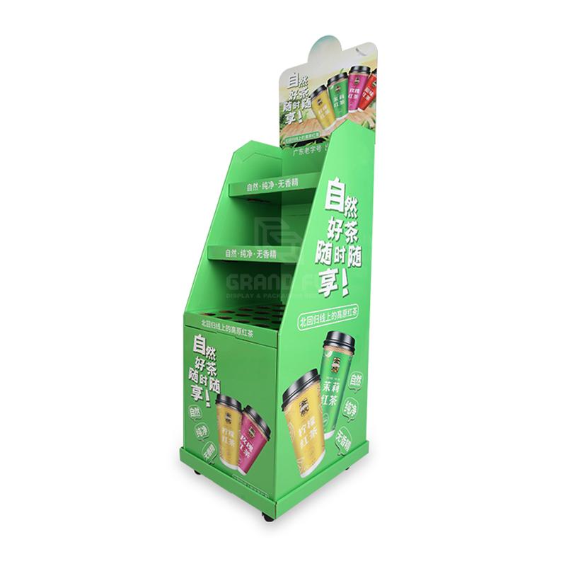 Removeable Carton Floor Dispay Shelf with Wheel for Tea & Mug-3