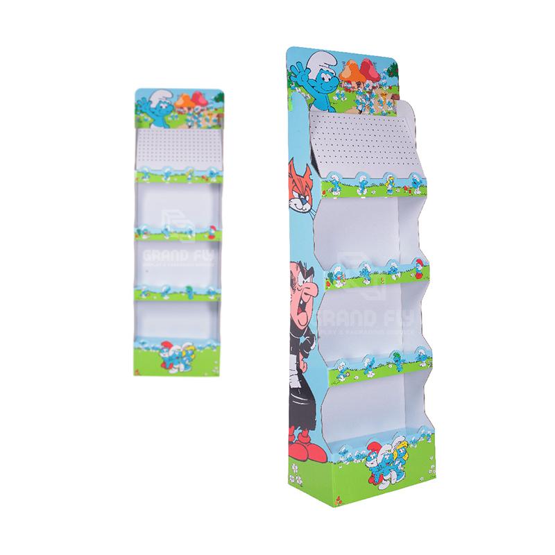 4 Tier Corrugated Carton Floor Display Shelf-3