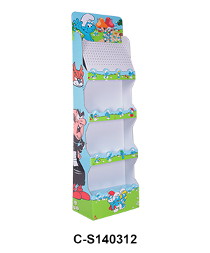 4 Tier Corrugated Carton Floor Display Shelf