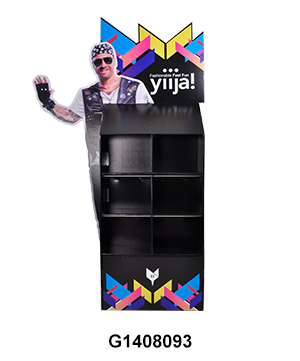 Cardboard Floor Display Stand with 3D Life-Side Side Panel