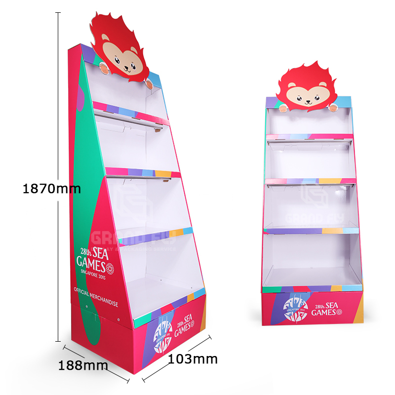 Cardboard POP Merchandise Display Shelf for Gift Products-4
