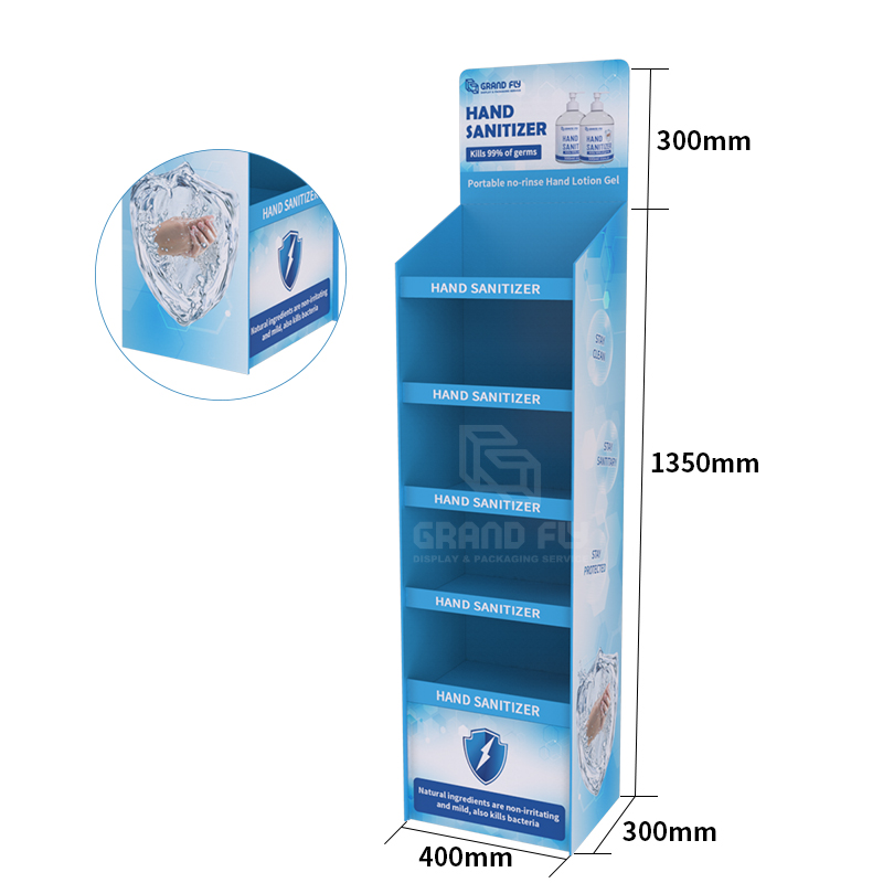 Cardboard Temporary POS FSDU Hand Sanitiser Retail Display Stand Units-3