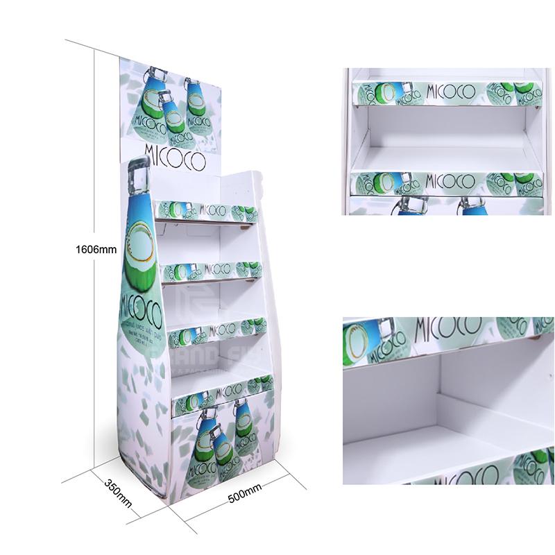 Corrugated Cardboard Floor Display Rack for Drinks & Beverages-4
