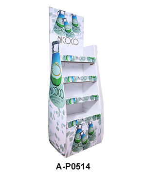 Corrugated Cardboard Floor Display Rack for Drinks & Beverages