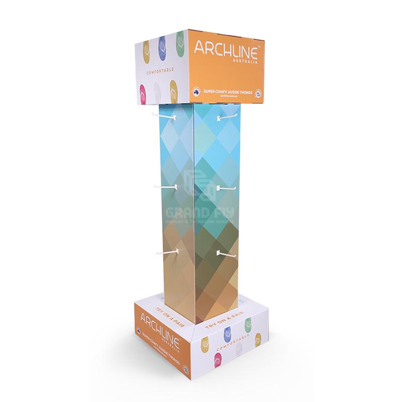 Four Side Cardboard Hook Display Stand for Flip-Flops-1