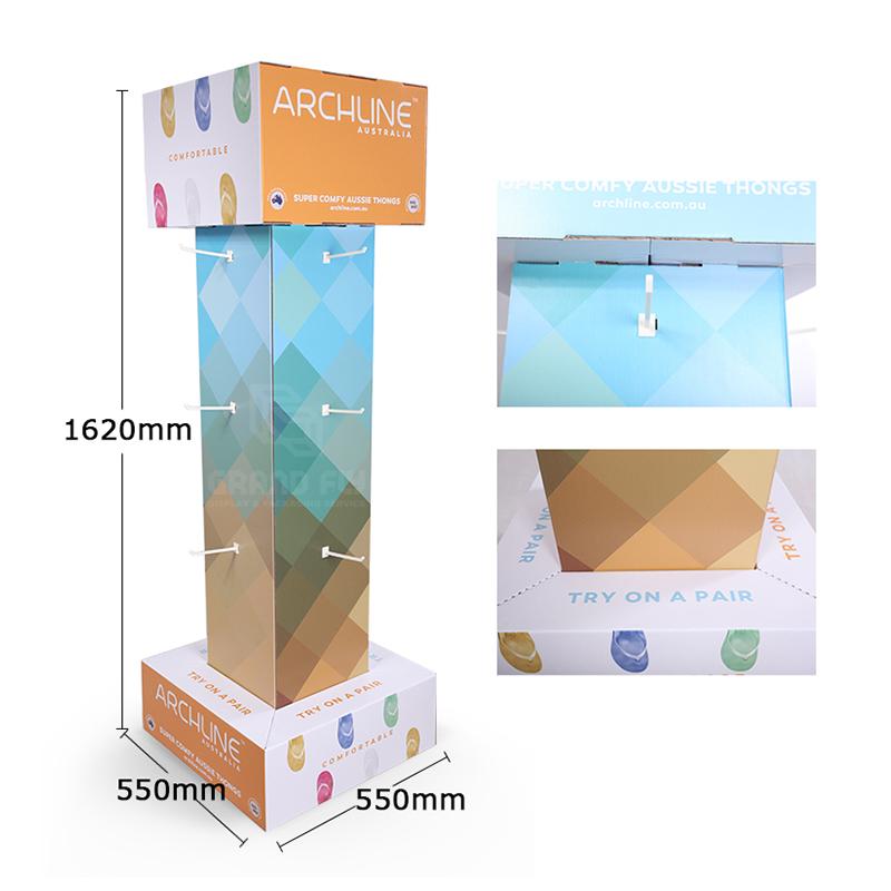 Four Side Cardboard Hook Display Stand for Flip-Flops-4