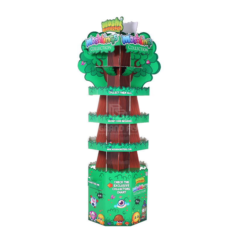 Four-Side Tree Shape Cardboard Floor Display Stand for Toy-1