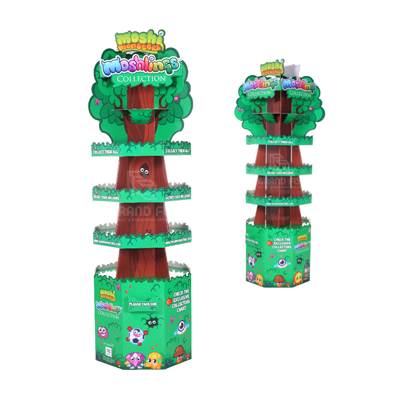 Four-Side Tree Shape Cardboard Floor Display Stand for Toy-2