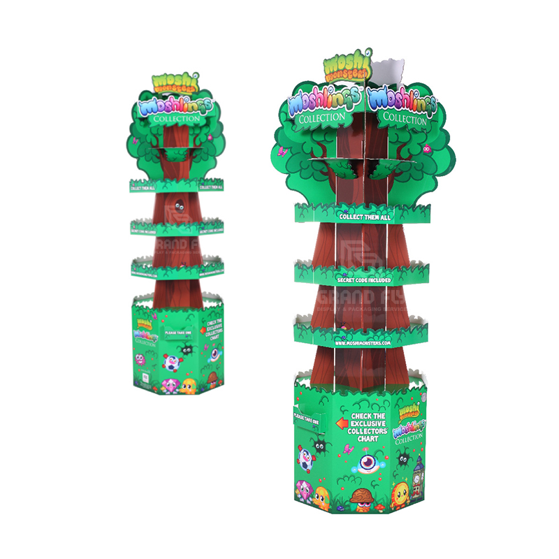 Four-Side Tree Shape Cardboard Floor Display Stand for Toy-3