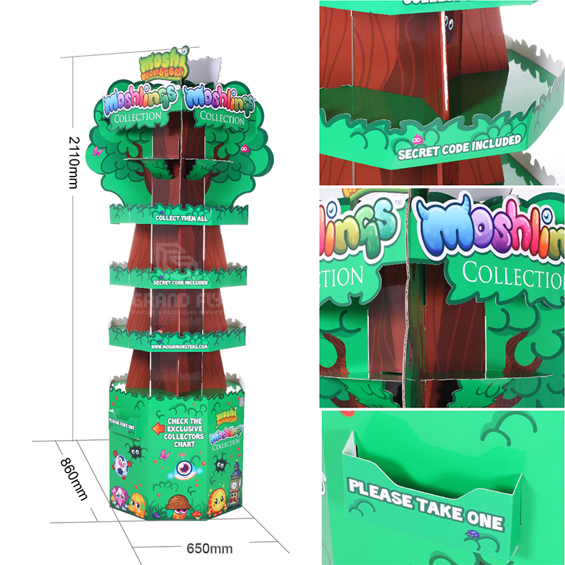 Four-Side Tree Shape Cardboard Floor Display Stand for Toy-4
