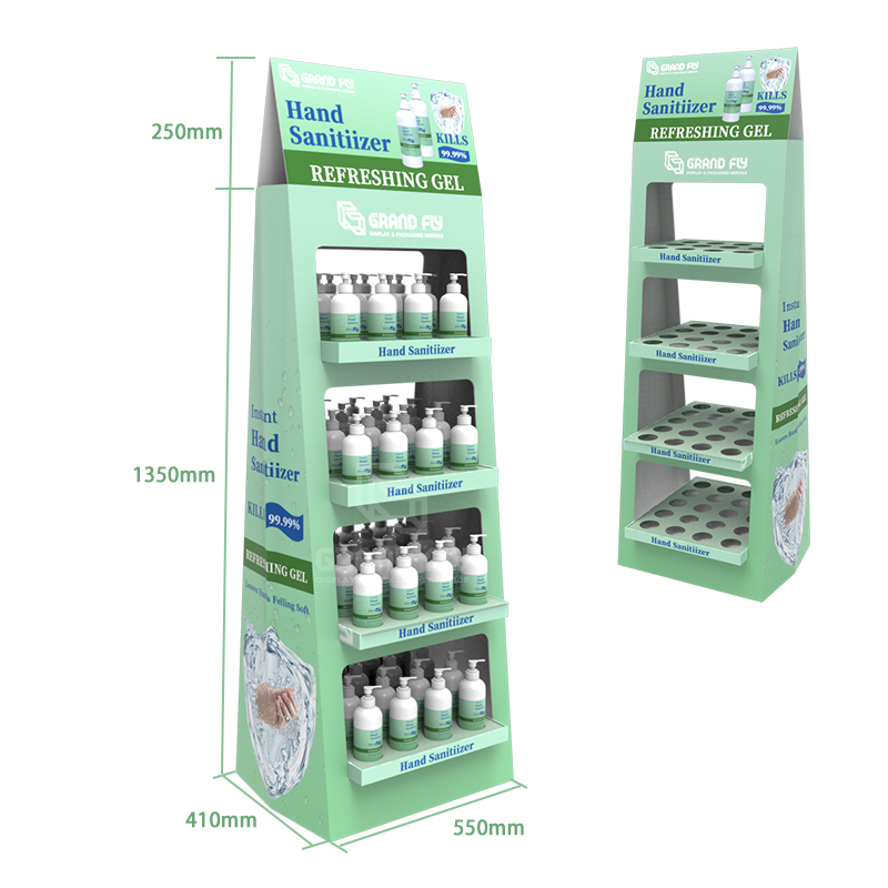 Two-side Cardboard Corrugated POP Hand Sanitiser Display Stand Rack-3