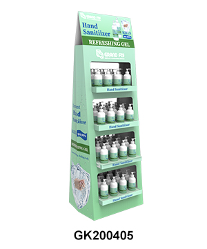 Two-side Cardboard Corrugated POP Hand Sanitiser Display Stand Rack
