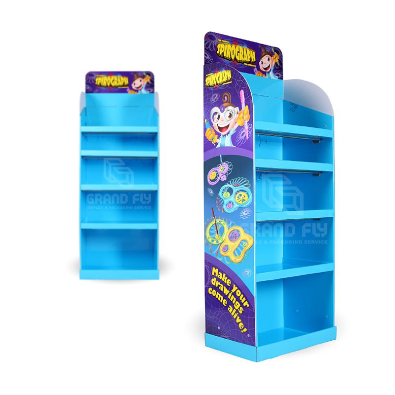Cardboard POP Retail Floor Shelf Display for CrayonStationery-3