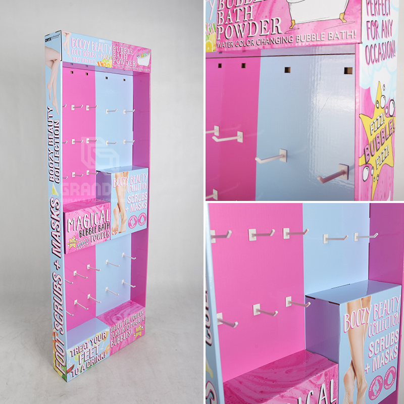 Corrugated POP Retail Display Stand with Peg hook for Accessories-4