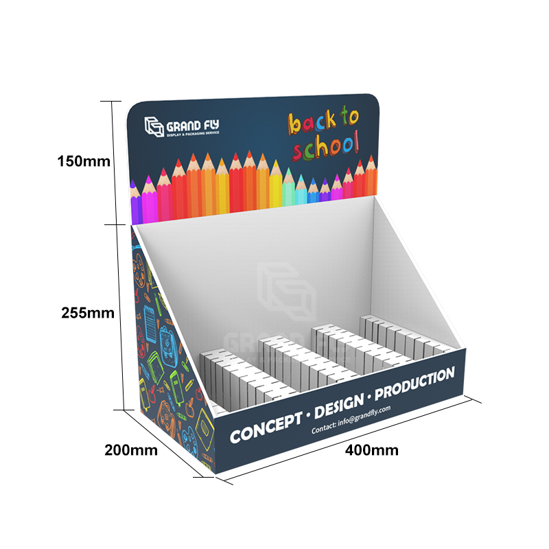 POS Paper Counter Top Display Unit for Crayon Marker Pen-4