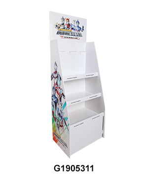 Stationery Corrugated Flooring Display Stand with Hook & Shelf