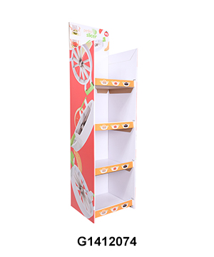 Cardboard Free Standing Display Unit with 4 Shelves for Fruit Knives