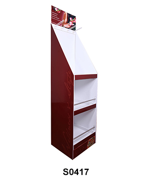 Cardboard Slippers Display Stand with Hook & Shelf
