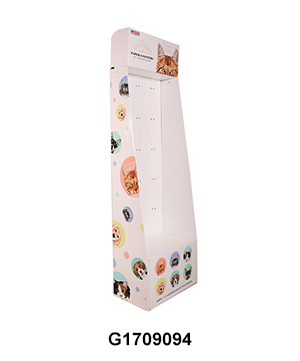 Carton Floor Retail Displays with Pegboard for Pet Toys