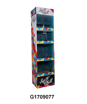 Corrugated Freestanding Water Bottle Display Rack with 4 Shelf