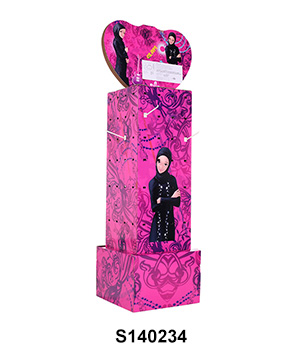 4 Sides Carton FSDU Hook Display Stand with Heart-shaped Header