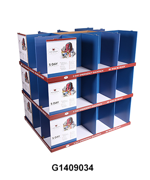 Costco Corrugated Modular Full Pallet Displays for Backpack