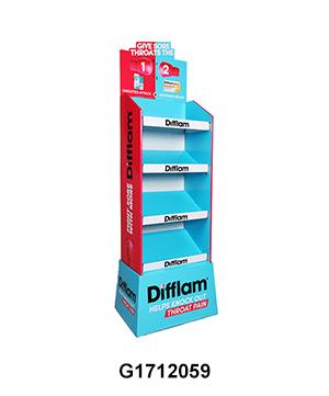 Pharmacy Cardboard Floor Retail Display Tower with 4 Shelf